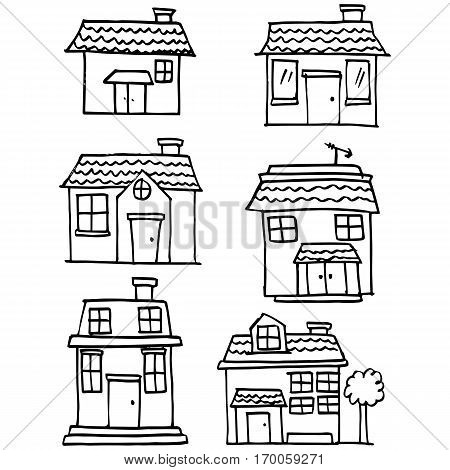 Hand draw of house set various collection stock