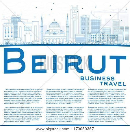 Outline Beirut Skyline with Blue Buildings and Copy Space. Vector Illustration. Business Travel and Tourism Concept with Modern Architecture. Image for Presentation Banner Placard and Web Site