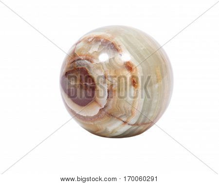 Multicolor onyx sphere polished natural banded crystal mineral stone ball isolated on white background