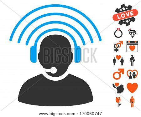 Operator Radio Signal pictograph with bonus dating symbols. Vector illustration style is flat iconic symbols for web design app user interfaces.