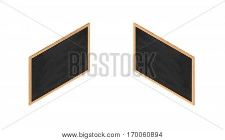 3d rendering of a framed black chalkboard in double-sided isometric view. School supplies. Teaching and education. Visual aids.