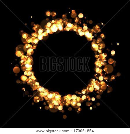 Abstract golden round background on black. Vector illustration.
