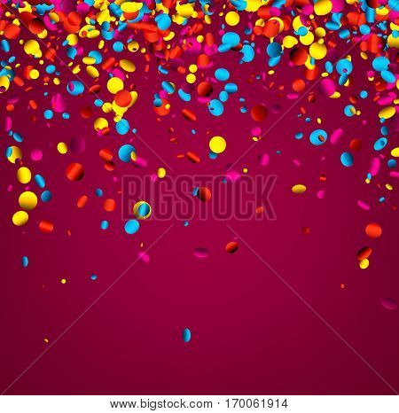 Festive pink background with colorful glossy confetti. Vector illustration.