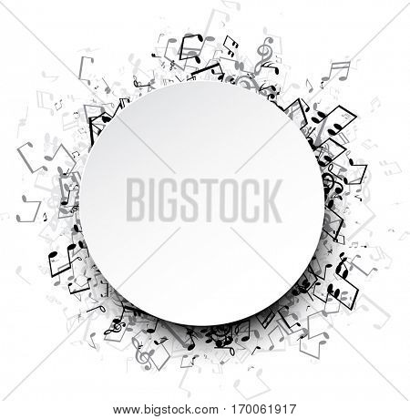 White musical round background with gray notes. Vector paper illustration.