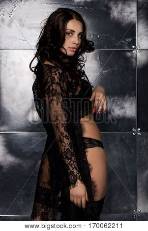 fashion sexy young woman in lacy lingerie and stockings posing on steel background.