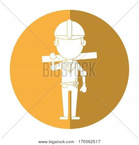man construction wooden board and tool belt shadow vector illustration