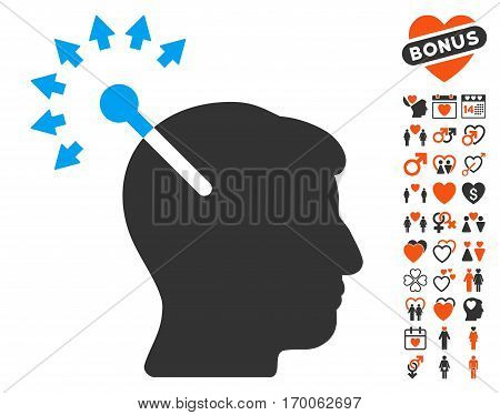 Optical Neural Interface pictograph with bonus romantic symbols. Vector illustration style is flat iconic symbols for web design app user interfaces.