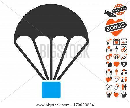Parachute pictograph with bonus decorative symbols. Vector illustration style is flat iconic symbols for web design app user interfaces.
