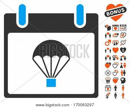 Parachute Calendar Day icon with bonus amour symbols. Vector illustration style is flat iconic symbols for web design app user interfaces.