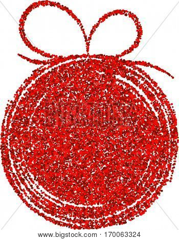 Background with red abstract Christmas ball. Vector illustration.