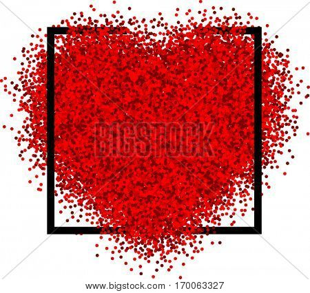 Valentine's love background with red heart. Vector paper illustration.
