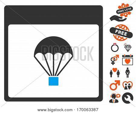 Parachute Calendar Page pictograph with bonus romantic design elements. Vector illustration style is flat iconic symbols for web design app user interfaces.
