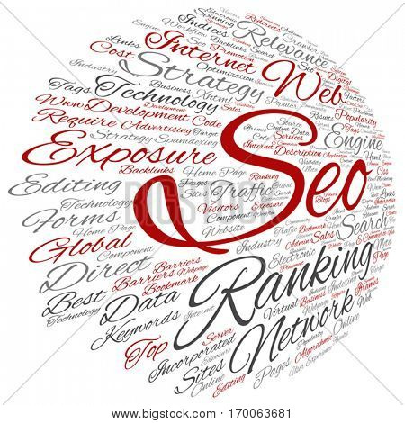 Vector concept or conceptual search engine optimization, seo abstract word cloud isolated on background metaphor to marketing, web, internet, strategy, online, rank, result,  network, top, relevance