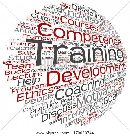 Vector concept or conceptual training, coaching or learning, study word cloud isolated on background, metaphor to mentoring, development, skills, motivation, career, potential, goals or competence