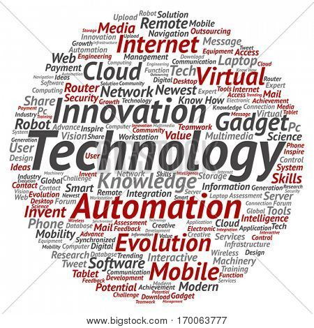 Vector concept or conceptual digital smart technology, media word cloud isolated on background, metaphor to information, innovation, internet, future, development, research, evolution or intelligence