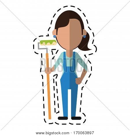 cartoon painter woman with overalls and roller vector illustration eps 10