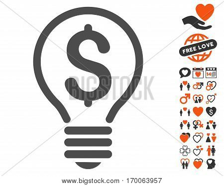 Patent Bulb icon with bonus romantic pictograms. Vector illustration style is flat iconic symbols for web design app user interfaces.
