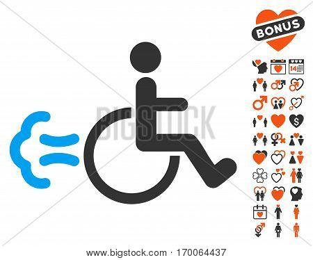 Patient Movement icon with bonus lovely pictograph collection. Vector illustration style is flat iconic elements for web design app user interfaces.