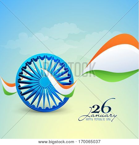 3D Ashoka Wheel with Tricolor waves, Poster, Banner and Flyer design For 26 January, Indian Republic Day celebration.