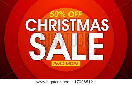 Christmas Sale with 50% Off, Creative Poster, Banner or Flyer design.