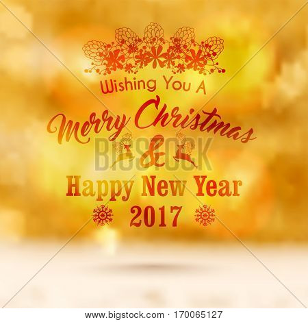 Merry Christmas and Happy New Year Party celebration Greeting Card design, Abstract blurred festive background.