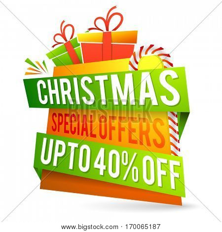 Christmas Special Offer with Upto 40% Off, Creative colorful paper tag, banner, poster or flyer design.
