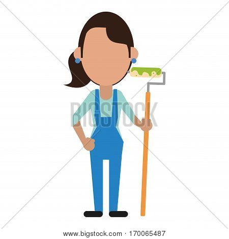 painter woman with overalls and roller vector illustration eps 10