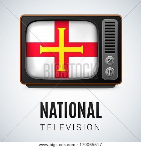 Vintage TV and Flag of Guernsey as Symbol National Television. Tele Receiver with flag design