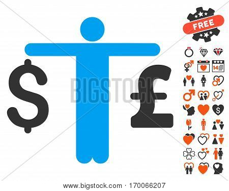 Person Compare Dollar Pound icon with bonus passion images. Vector illustration style is flat iconic symbols for web design app user interfaces.