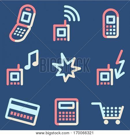Mobile phone icons set 2, colour contour series