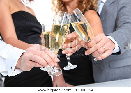 Closeup of glasses of champagne