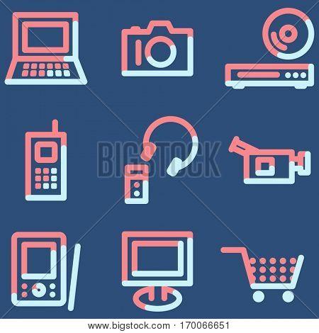 Electronics icons, light blue contour