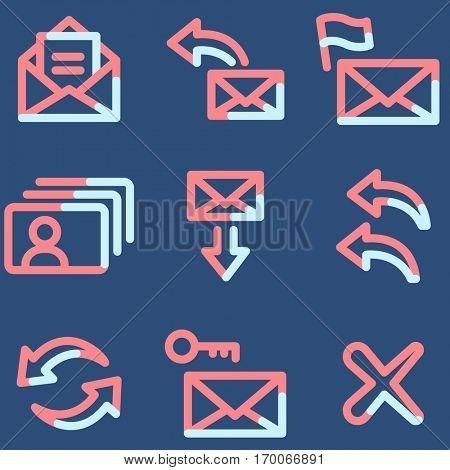 E-mail icons, light blue contour