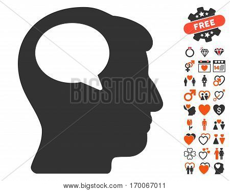 Person Thinking icon with bonus decorative graphic icons. Vector illustration style is flat iconic elements for web design app user interfaces.