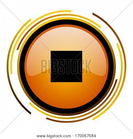 Stop sign vector icon. Modern design round orange button isolated on white square background for web and application designers in eps10.