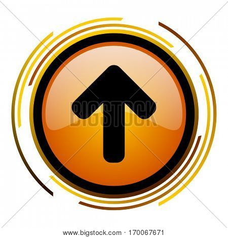 Arrow up sign vector icon. Modern design round orange button isolated on white square background for web and application designers in eps10.