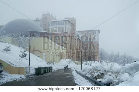 Sochi, Russia - January 21, 2017: Solis Sochi Hotel Upper Gorky Gorod - all-season resort town 960 meters above sea level in the village of Krasnaya Polyana