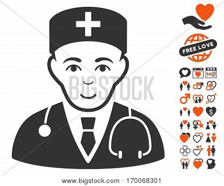 Physician pictograph with bonus passion symbols. Vector illustration style is flat iconic symbols for web design app user interfaces.