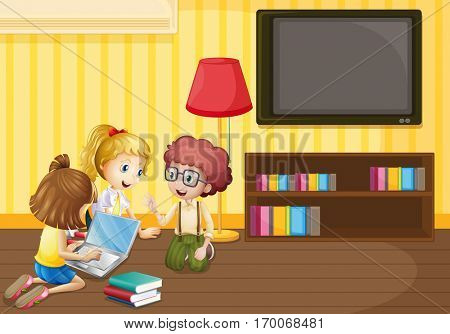 Three kids working on computer at home illustration