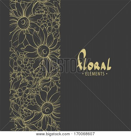 elegant sunflowers painted lines on a dark background with place for your inscription