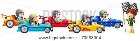Five kids racing car together illustration