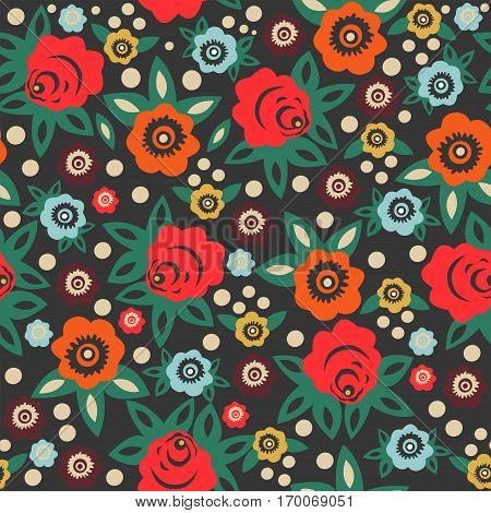 Bright floral seamless pattern in Slavic style. Vector.