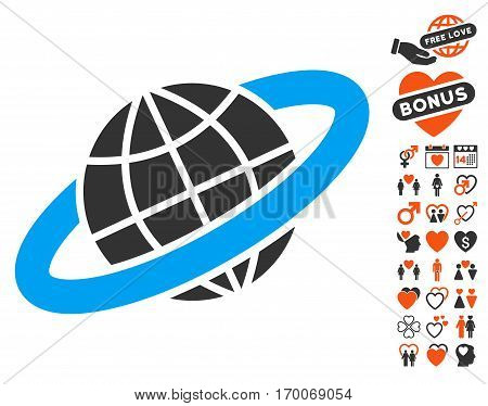 Planetary Ring pictograph with bonus passion images. Vector illustration style is flat iconic symbols for web design app user interfaces.