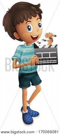 Little boy holding clapboard illustration