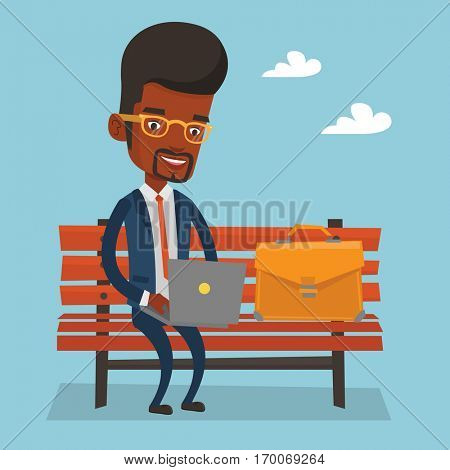 An african-american businessman working outdoor. Happy businessman working on a laptop. Young businessman sitting on a bench and working on a laptop. Vector flat design illustration. Square layout.