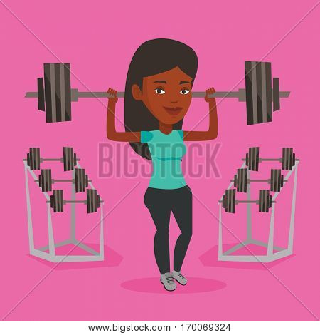 An african-american sporty woman lifting a heavy weight barbell. Sportswoman doing exercise with barbell. Weightlifter holding a barbell in the gym. Vector flat design illustration. Square layout.