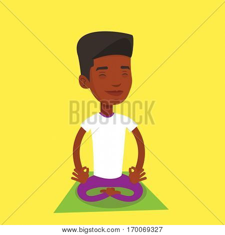 African-american young young sportsman meditating in yoga lotus pose. Sportsman relaxing in the yoga lotus position. Sporty man doing yoga on the mat. Vector flat design illustration. Square layout.