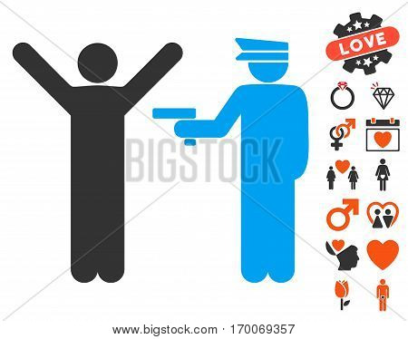 Police Arrest icon with bonus marriage clip art. Vector illustration style is flat iconic symbols for web design app user interfaces.