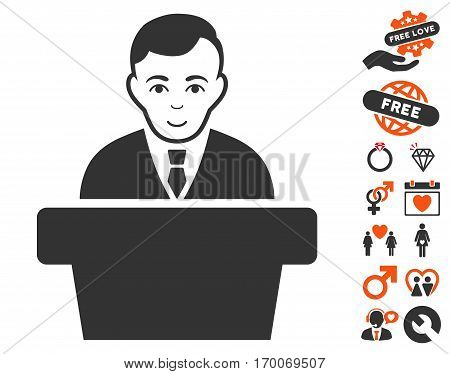 Politician icon with bonus decorative pictograms. Vector illustration style is flat iconic elements for web design app user interfaces.