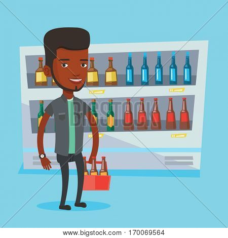 An african-american man standing in alcohol store with pack of beer on background of refrigerator. Man buying beer. Beer lover holding pack with bottles. Vector flat design illustration. Square layout